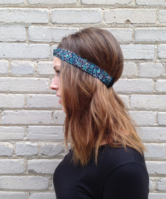 Liberty of London Print Headband in Floral Print in Dark Aqua cotton grosgrain trim and elastic closure
