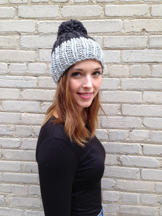 Chunky Wool Rib Knit Color Block hat shown in Light grey and charcoal available in other color ways