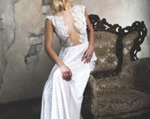 Pure white wedding dress sheath silhouette with sheer open bodice