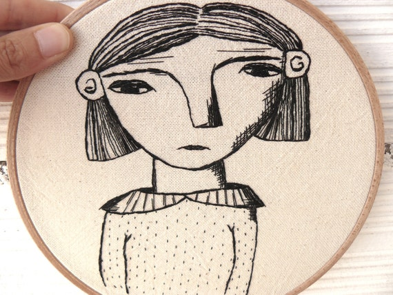 Hand embroidery. Young woman portrait. Hoop art. 19 cm.
