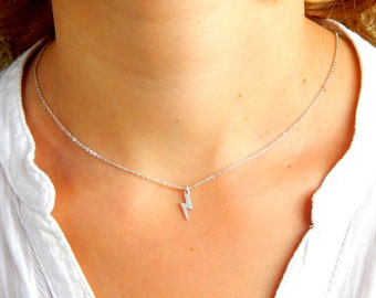 Dainty Silver lightning necklace, lightning bolt silver necklace, lightning charm, silver lightning charm, everyday necklace 169
