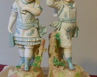 Antique Porcelain Bisque German Victorian Children Figurines