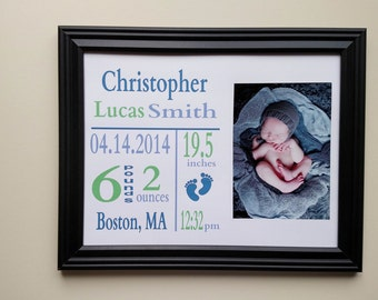 Personalized Baby Announcement Frame with Baby Feet
