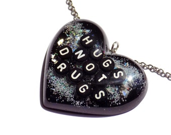 Hugs Not Drugs Necklace Goth Grunge Pendant Holographic Dark Jewelry