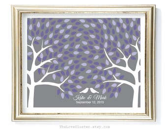 Wedding Tree Guestbook Print / 16x20 / 200 Guests / Signature Guest Book Alternative / Gray Purple Lilac  / Personalized Wedding Print