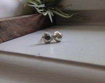 Rough Silver Studs, Faceted Silver Stud Earrings, Geometric Earrings