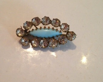 Vintage Brass Toned Rhinestone and Blue Stone Brooch