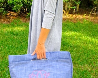 Kate Simpson Special Order for 8 Insulated Cooler Tote- Chambray with monogram