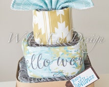 Hello World -Travel-Airplane themed Baby Boy/Girl 3-tier  Square Diaper Cake or Shower Centerpiece