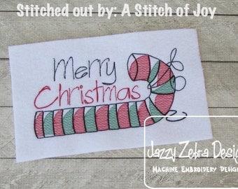 Candy Cane 85 Sketch Embroidery Design - Christmas Sketch Embroidery Design - candy cane Sketch Embroidery Design
