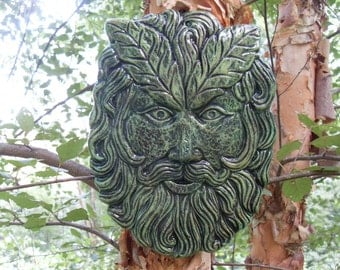 Greenman Statue,Greenman Wall Sculpture,Leaf Man Plaque,Forest Spirit Wall Hanging,Tree Spirit Statue,Woodland Plaque, Hand Cast Stone