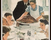 Norman Rockwell Art, Family Enjoying Thanksgiving Dinner, Freedom From Want, 1943 Vintage Book Plate Illustration, Ready to Frame