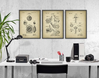 Golf Patent Prints Set of 3 - Golf Poster - Golf Print - Golfing Sports  Gift - Golf Club - Golf Ball - Golf Tee - Golf Clubhouse Wall