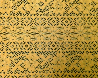 Golden Mustard Retro Floral Pattern Soft Fuzzy Brushed Crochet Lace Polyester Fabric - 58 Inches Wide - By the Yard or Bulk