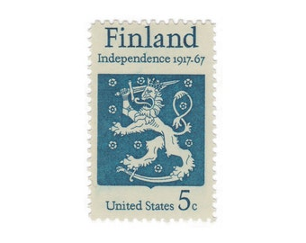 10 Unused US Vintage Postage Stamps - 1967 5c Finland Stamp - Item No. 1334