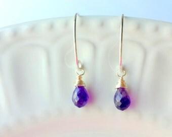 Purple Amethyst earrings, Purple earrings, February birthstone earrings, Silver earrings, Gemstone earrings, Simple Briolette earrings