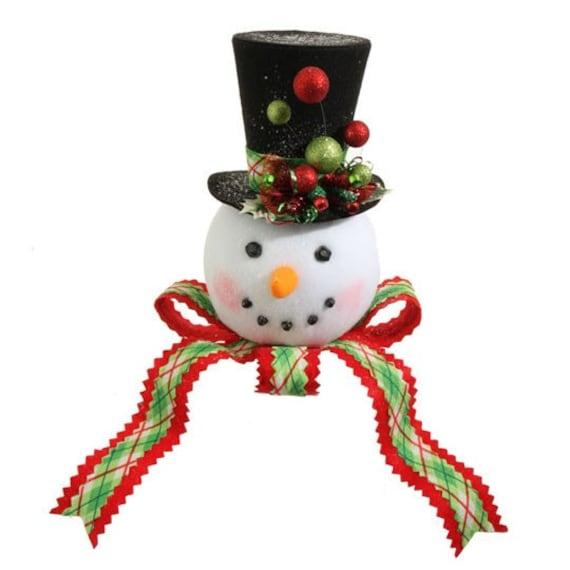 raz plaid top hat snowman christmas tree topper jingle all. Black Bedroom Furniture Sets. Home Design Ideas