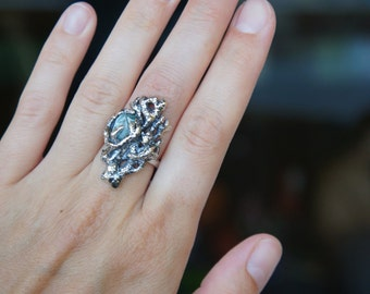 Coral branch ring with rough gemstone - size 6.5 - sterling silver ring - statement ring - one of a kind - modern ring, blue stone ring,