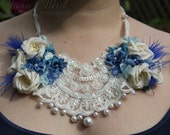 half price Silk Ribbon and Lace Necklace, Statement Necklace,Limited Edition