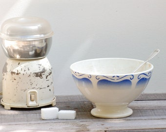 French vintage cafe au lait  bowl with blue decoration like Digoin, Coffee bowl,bol cafe au lait, shabby chic