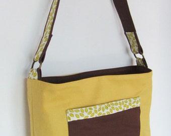 Yellow Handbag - Yellow and Brown Bag with Petals