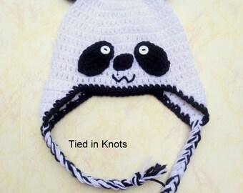 Panda Hat - Crochet Panda Hat - Panda Bear Hat - Baby Panda hat - Panda Hat for Baby - Newborn Panda Hat - Black and White Hat for baby -
