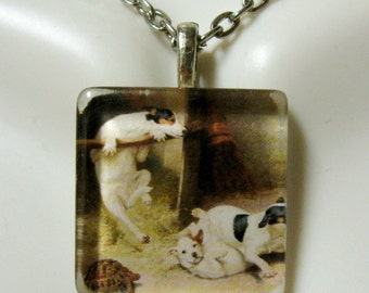 Rough and tumble foxhound puppies pendant and chain - DGP01-161