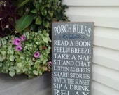 PORCH RULES SIGN-Sign for porch-Outdoor rules Sign-Porch decor Sign-Patio-Mothers day sign-Outdoor decor-Rustic home decor-Country Wood Sign