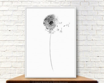 Dandelion Drawing Gray Wall Decor, Abstract Flower Minimalist Painting, Dandelion Seeds Illustration