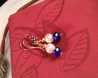 Cobalt Blue Faceted Swarovski Crystal, Pearl Dangles, Copper Findings, Handmade Earwires, Wire Wrapped