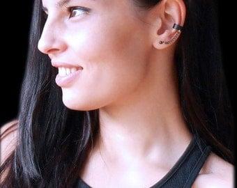 Black ear cuff, Gun black chain cuff earring