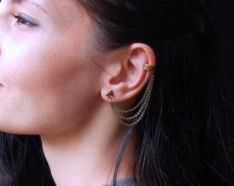 Triangle Chain Ear Cuff Earrings, Cuff earrings antique bronze chain, Triple chain cuff earrings