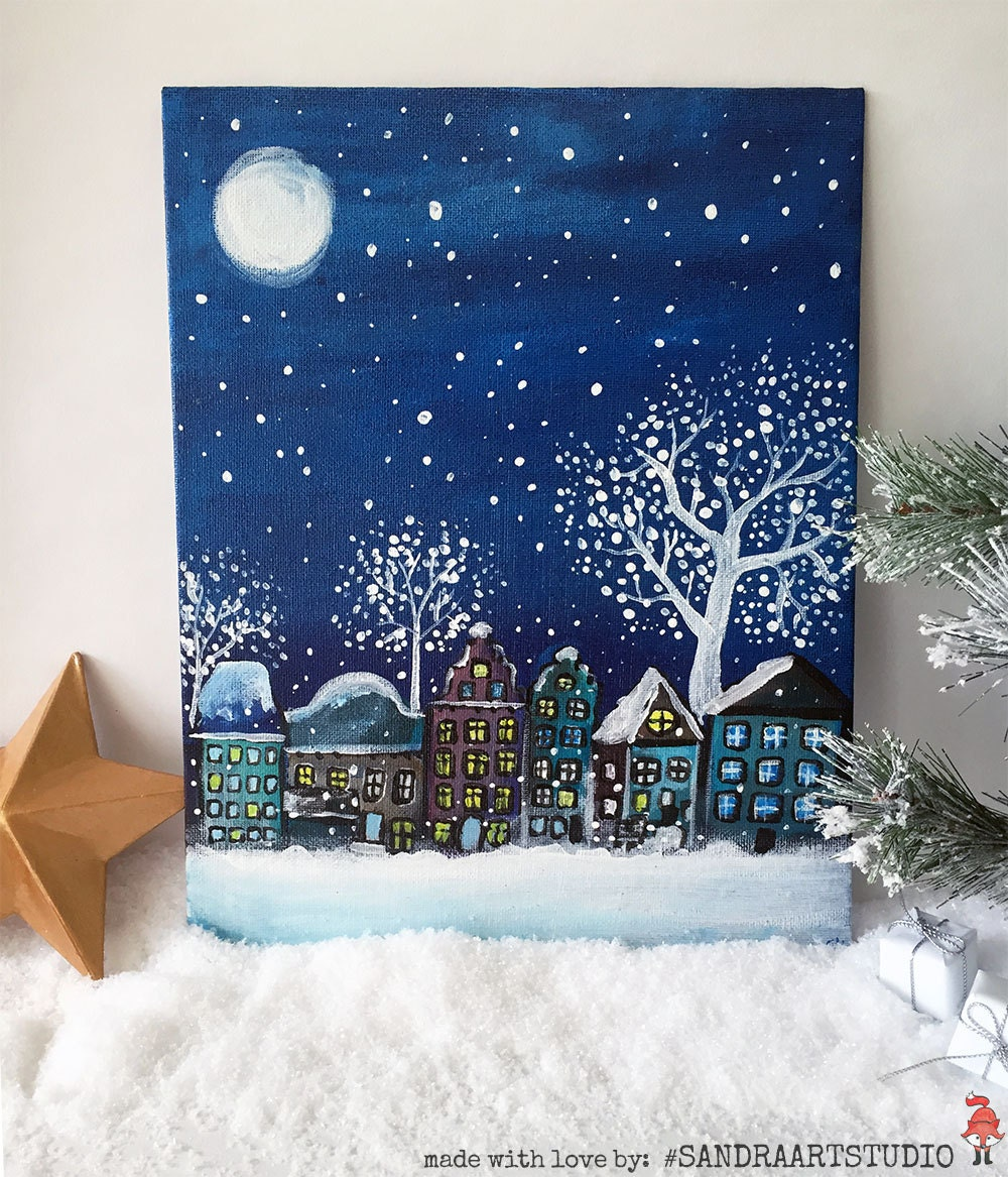 Christmas painting with pretty christmas scenery city at for Acrylic decoration