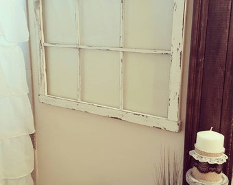 Faux Window made to hold glass - Faux Old Window - Vintage Window Frame