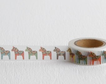 Swedish Horse Washi Tape, Swedish Dala Horse Paper Tape, 15mm