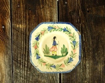 HB Quimper Faience square Plate - Antique French Faience Plate Hand painted faience plate Quimper, Bretagne, France - Wall Hanging Plate