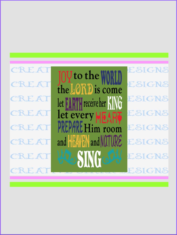 Joy to the World Christmas Carol Lyrics Canvas Holiday Wall