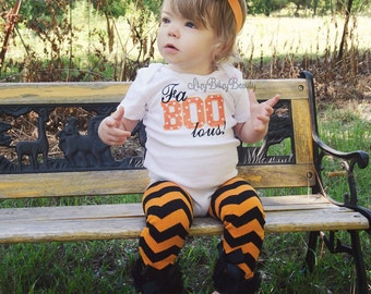 faBOOlous embroidered bodysuit baby girls first halloween BOO outfit headband orange and black chevron
