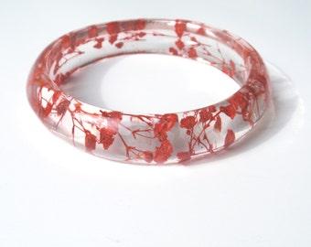 Red bangle bracelet, Resin Bangle Bracelet, Real Flower Bangle, pressed flower, Bangle Bracelet jewelry, Chunky bangle, , Size XL