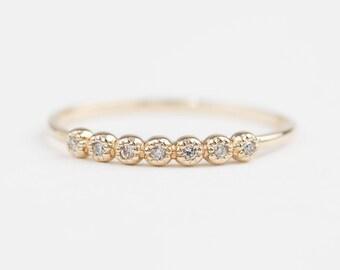 14k yellow rose white gold diamond 7 stone ring, half eternity ring, diamond wedding band, diamond stack ring, dal-r106