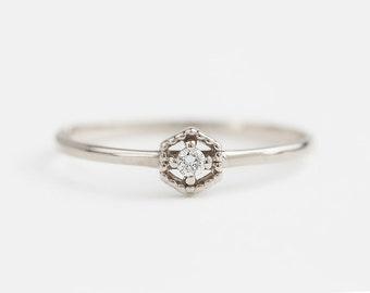 14k white gold diamond solitaire ring, diamond stacking ring, hexagon ring, 14k white gold, rose gold option