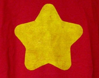 Red Screenprinted shirt with Yellow Star inspired by Steven Universe