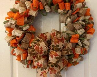 Fall Ribbon Wreath, Burlap Wreath, Burlap Ribbon Wreath, Everyday Wreath, Summer Wreath, Fall Wreath