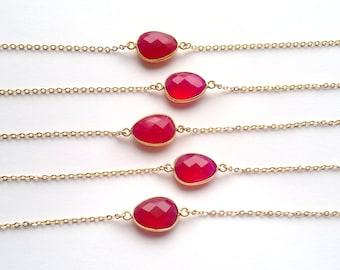 Hot Pink Chalcedony Bracelet Pink Stone Bracelet Bezel Bracelet Gold Chain Bracelet Fucshia Bracelet Boho Bracelet Mineral Bracelet Boho
