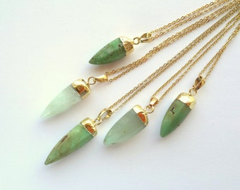 CLEARANCE Chrysoprase Necklace Chrysoprase Spike Pendant Spike Necklace Mint Green Stone Necklace Stone Spike Pendant Chrysoprase Jewelry