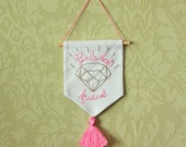 Diamonds Are a Girl's Best Friend mini banner wall hanging flag wall pennant quote banner Marilyn Monroe home decor embroidered banner flag