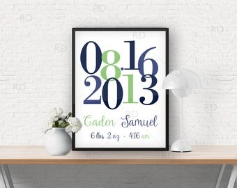 Important Date Art Printable - Baby date of birth / name / weight - Nursery art / wall art / baby gift / birth announcement