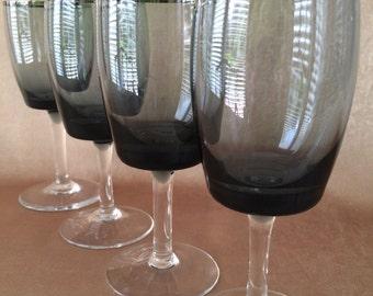 Gorham Midnight Mist, Smoke Wine Glasses, Platinum Band, Sophisticated Design, Mid Century Wine, Danish Modern, Vintage Barware, 8 Available