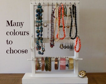 Jewelry organizer -Stand alone jewelry holder- 2 sides - Necklaces, bracelets, earrings, rings holder - Handmade - many colours available
