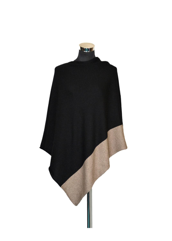 poncho gr e m 100 cashmere schwarze farbe von warmmagic. Black Bedroom Furniture Sets. Home Design Ideas